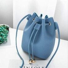 New Women's Shoulder Crossbody Strap Bag Litchi Bucket Package Female PU Leather Fashion Shoulder Pure Color Messenger Chest bag