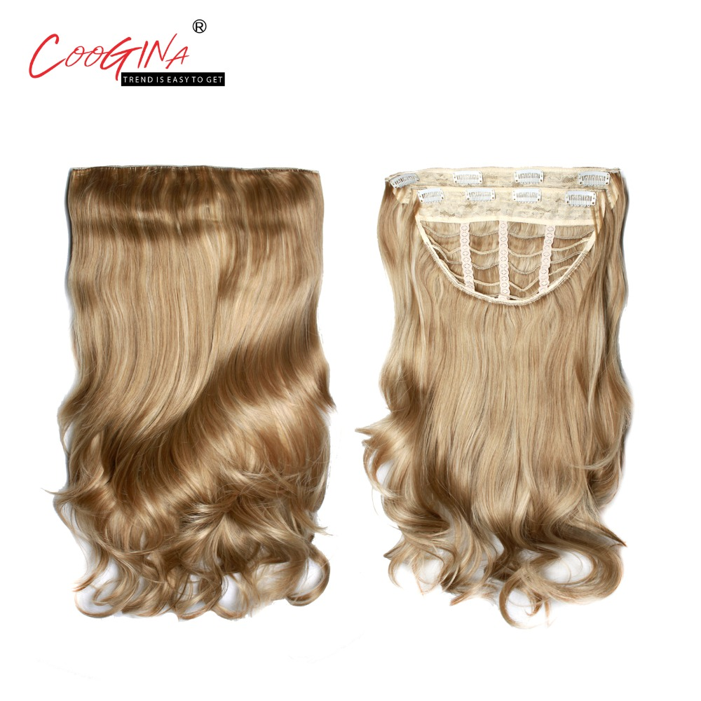 Coogina 2018 New Women Synthetic Body Wave Two Level Clip In