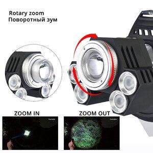 Image 3 - Poderoso farol led girando zoom farol à prova dwaterproof água usando lente anti reflexo luz branca + luz amarela + luz azul