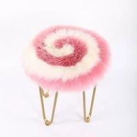 Lollipop pink màu sắc vòng hình New Zealand da cừu lông đệm 45 cm, trắng hồng mixed lông ghế đệm. cừu lông ghế mat