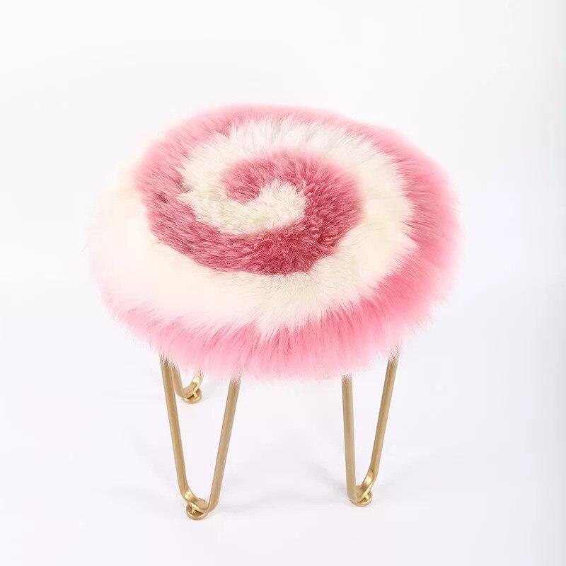 Sucette rose rond couleur Nouvelle-Zélande en peau de mouton de fourrure coussin 45 cm président de la fourrure coussin fourrure de mouton siège tapis pour la maison décor canapé oreiller