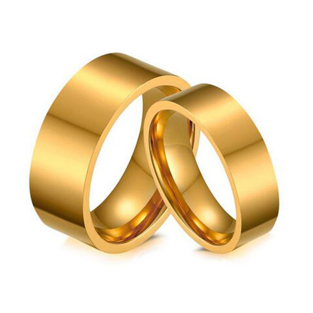 Gold Wedding Band for Women and Men Quality Stainless Steel Couple Ring Quality