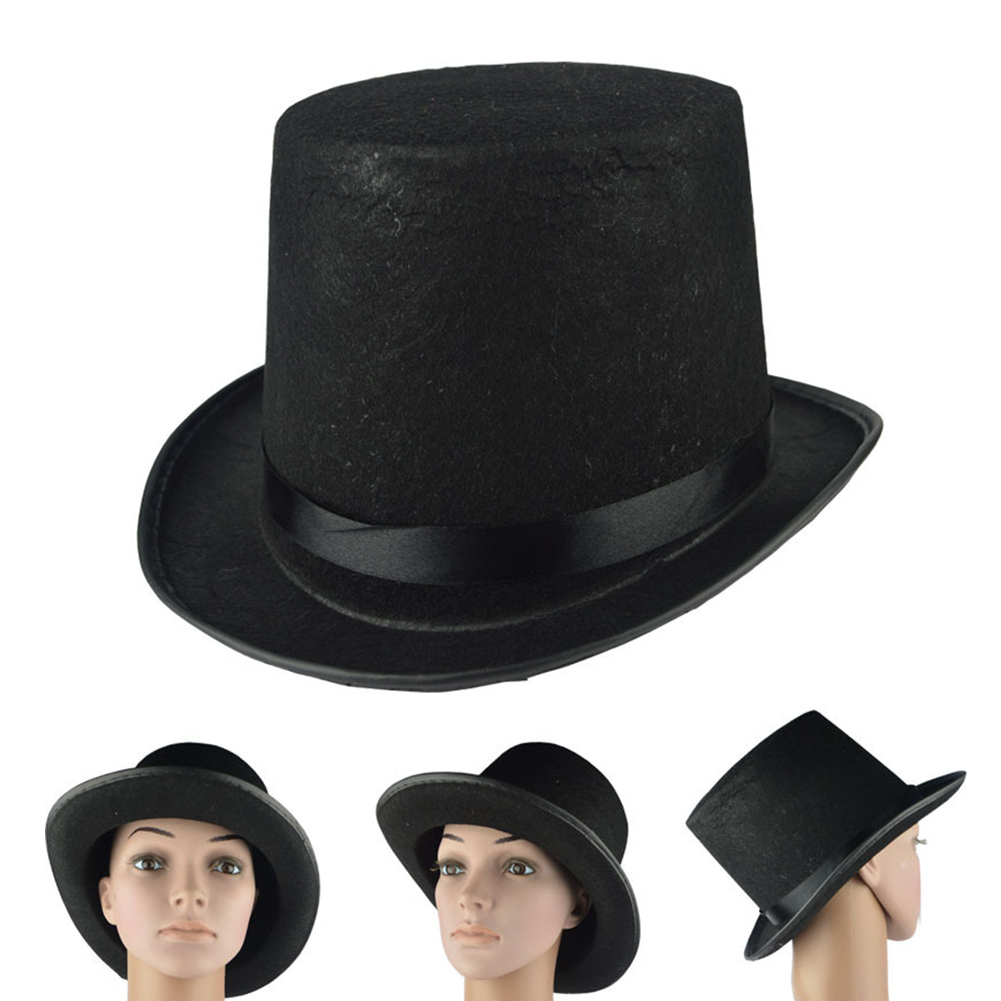 New Kids Adult Deluxe Black Top Hat Magician Hat Jazz Hat Topper For Victorian Ringmaster Cosplay Magic Props 3 Size