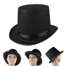 New Kids Adult Deluxe Black Top Hat Magician Hat Jazz Hat Topper For Victorian Ringmaster Cosplay Magic props 3 Size(China)