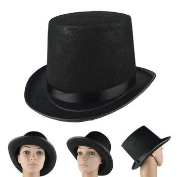New Kids Adult Deluxe Black Top Hat Magician Hat Jazz Hat Topper For Victorian Ringmaster Cosplay Magic props 3 Size image