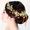2016 New Fashion Handmade Gold headdress jewelry luxurious Red crystal headbands bridal hair jewelry wedding hair accessories