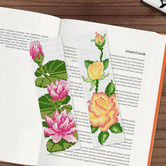 DIY Craft Stich Cross Stitch Bookmark Flowers Plastic Fabric Needlework Embroidery Crafts Counted Cross Stitching Kit in Aida Cloth from Home Garden
