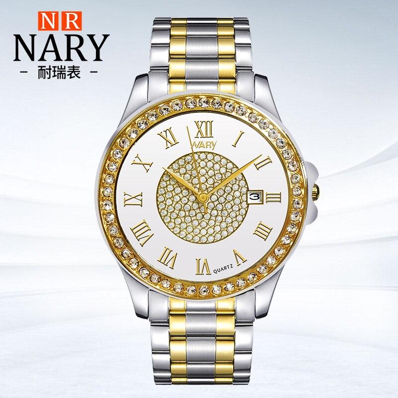 Prix pour NARY Mode D'or Quartz Montre Hommes Femmes Montres Marque De Luxe Montre-Bracelet strass Horloge Femme Homme Montres calendrier montre