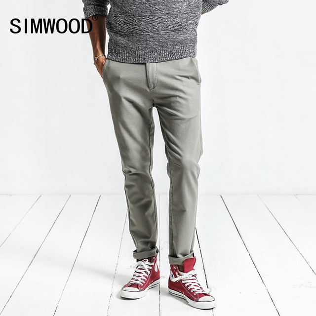 beeb00854b862 SIMWOOD Casual Pants Men 2018 Spring New Slim Fit Trousers Plus Size High  Quality Brand Clothing XC017022