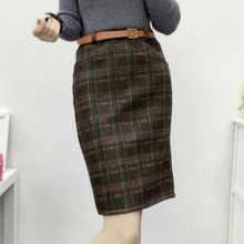 Fake pocket package hip skirt autumn and winter thick tartan woolen high waist skirt winter skirt jupe femme plaid etek MZ1004