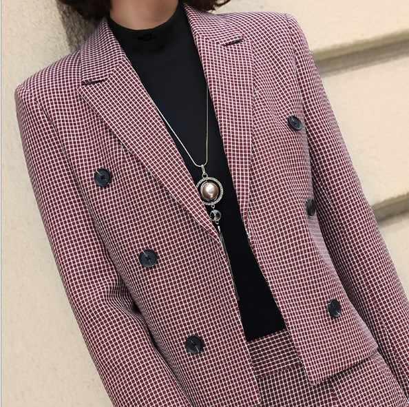 高品質レディースビジネスズボンパンツスーツセット女性 Ol エレガントなピンクグレーチェック柄の制服ショートジャケットやワイド脚パンツ