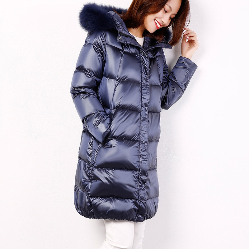 Winter Women White Goose   Down     Coat   Girl's Shiny Hooded Fur Collar   Down   Jacket Female Women's Warm   Coats   2019 New BLACK BLUE GRAY