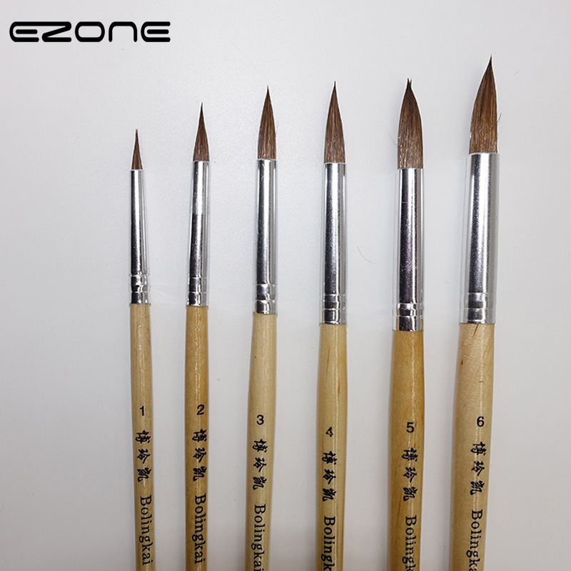 EZONE 6PCS/Set Wooden Handle Wolf Hair Painting Brush Artist Paint Brushes Acrylic Watercolor Oil Drawing School Office Supply