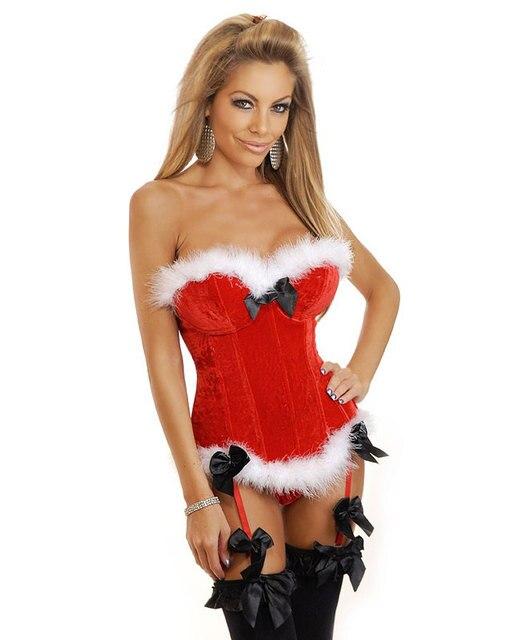 Natal Sexy corsets Strapless Vermelho de veludo bustier com copos underwire Branco aparado pele e combinando o thong
