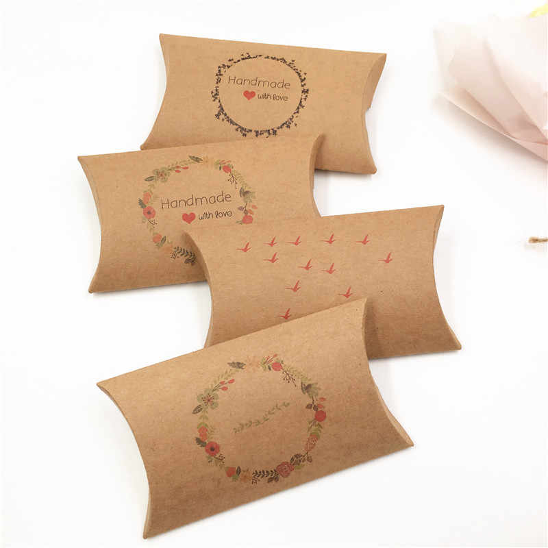 Romantic Vintage Kraft Paper Gift Box 1pcs Small Pillow Shape Candy Favor Wrapping Wedding Jewelry Craft Packing Box