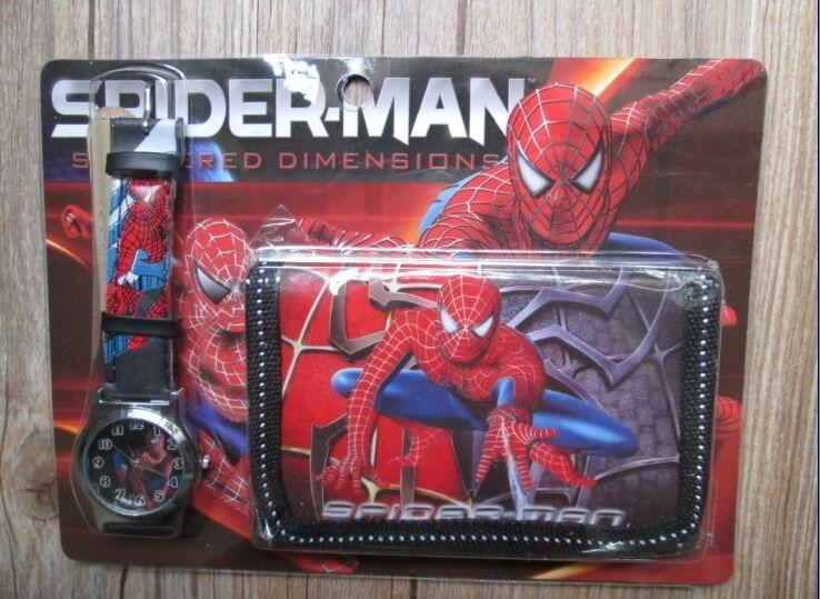 1pcs Hot Sale! Wholesale New Lot Spiderman Sets Cartoon Kids Part Set Watch Wristwatch And Wallet Purse