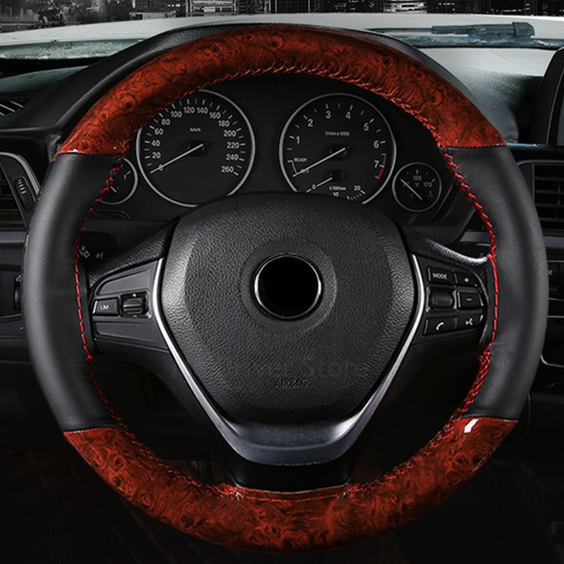 Car Steering Wheel Cover Crystal Wooden Leather Soft Braid With Needles Thread For Mercedes Benz 95-99 W210 Etc. Wood Styling