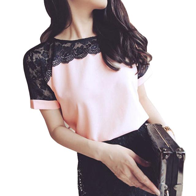 Femmes Blouses D'été Dentelle Chemisier En Mousseline 2016 Blusa Feminina Tops Chemise De Mode Femme Chemises Plus La Taille 5XL Rouge Blanc Rose
