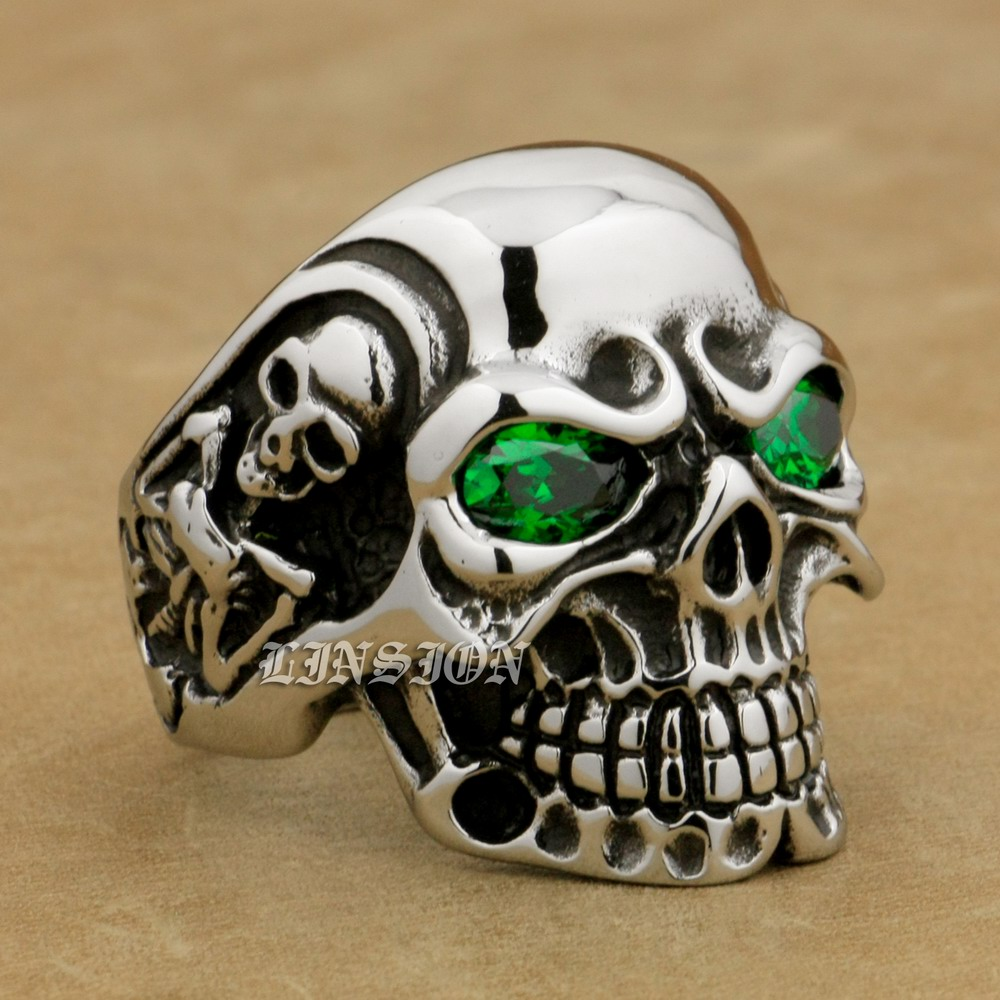 316L Stainless Steel Green CZ Eyes Titan Skull Mens Boys Biker Rock Ring 3A301A