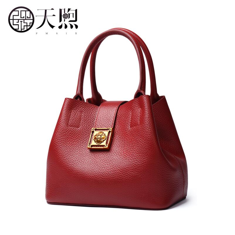 Tmsix 2018 New women Genuine Leather bags fashion luxury tote handbags designer women bag leather handbags Crossbody bags fashion women genuine leather handbags large capacity tote bag oil wax leather shoulder bag crossbody bags for women