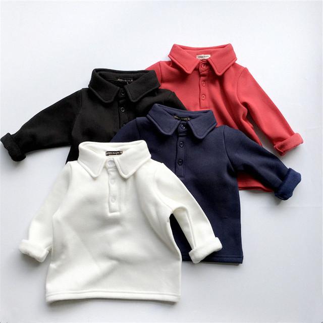 2016 de invierno nuevo clásico del niño del bebé 100% algodón camisa de polo da vuelta-abajo al collar de lana camiseta básica