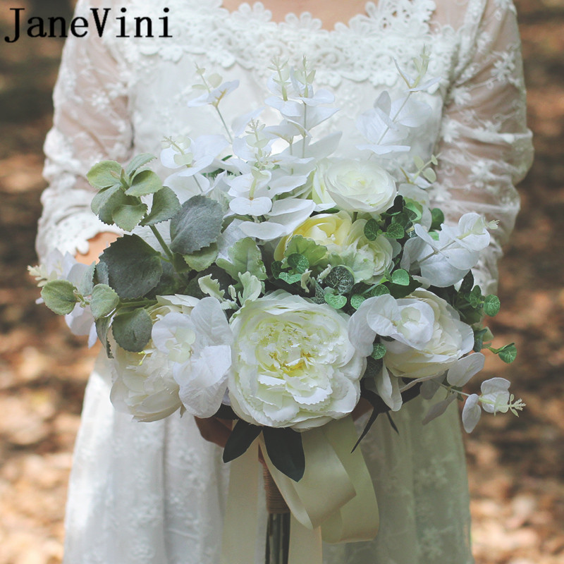 Свадебный букет с белыми розами в западном стиле, цвета слоновой кости, зеленые листья, свадебный букет с брошью для невесты