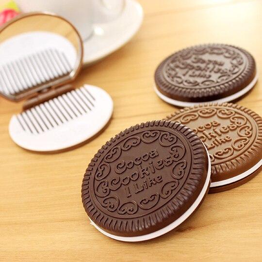 1 Pcs Nette Schokolade Cookie Förmigen Design Kleine Spiegel Mit Kamm Frauen Mädchen Make-up Werkzeug Tasche Spiegel Home Office Verwenden