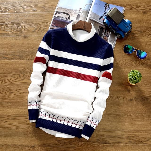 2018 camisola outono adolescentes do sexo masculino cultivar a moralidade em torno do pescoço camisola suéter listrado Fino