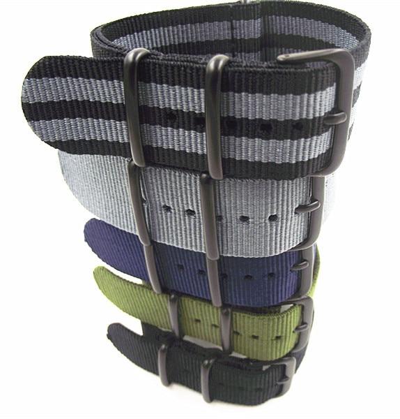 Black buckle - Wholesale 10PCS/lots High quality 22MM Nylon Watch band NATO stra