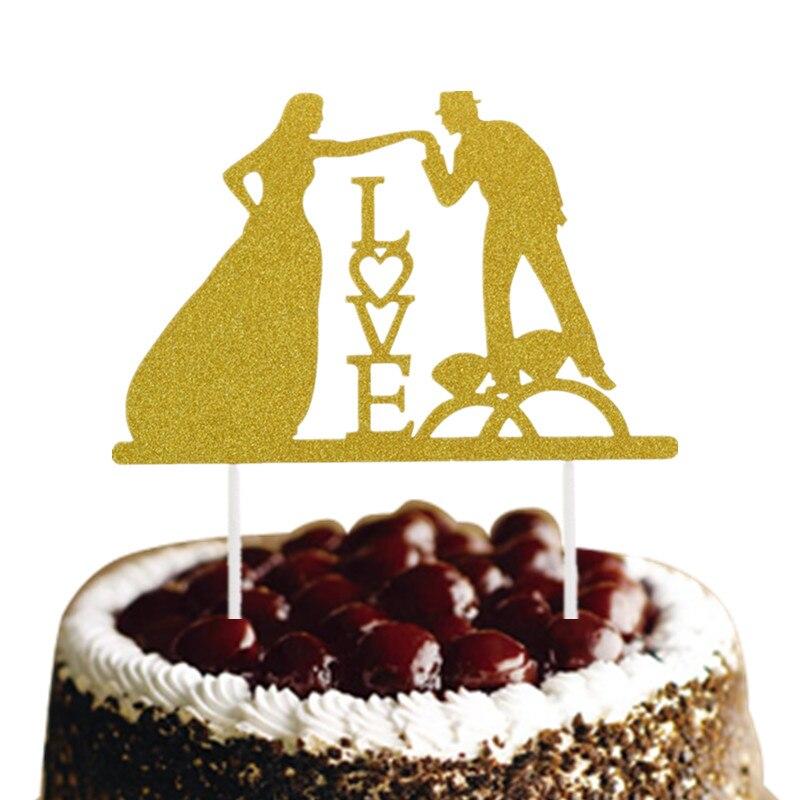 Buy Glittler Love Wedding Cake Topper Bride Groom Mr Mrs Cake Flags ...