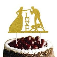 Glittler Love Wedding Cake Topper Bride Groom Mr & Mrs Flags Engagement Party Baking Decor