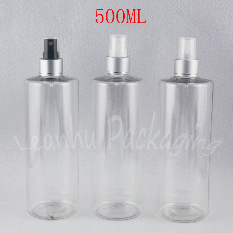 500ML Transparent Flat Shoulder Plastic Bottle , 500CC Water  Toner Sub-bottling , Empty Cosmetic Container ( 15 PCLot )