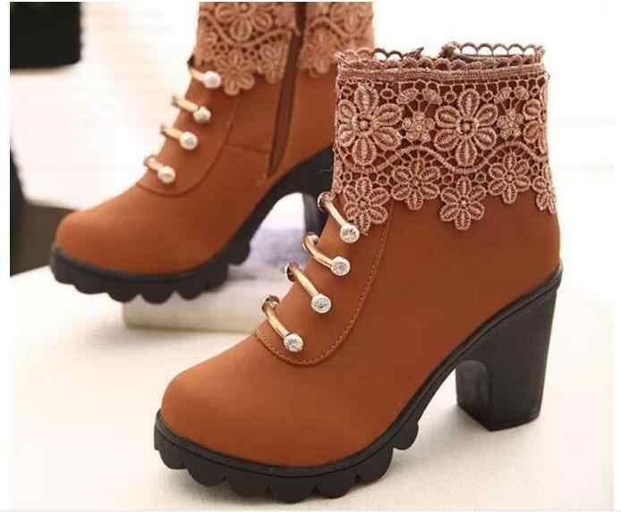 Kış Yeni Bahar Sonbahar Kadın yarım çizmeler Süet PU Deri Kısa Patik Lace Up Çizmeler Kadın Kürk Ayakkabı