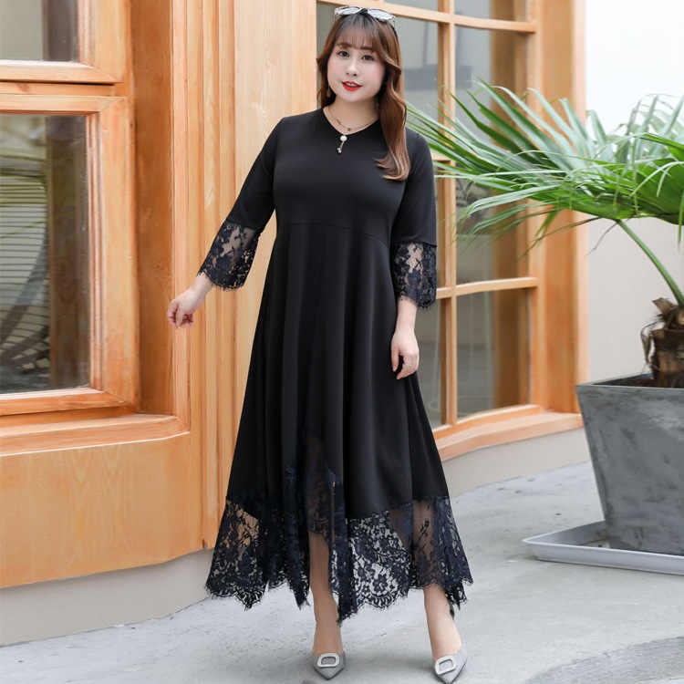 3XL-9XL Large size Women Lace Dress Summer Spring Casual Plus Size 2019 Dress 7XL 8XL Office Lady Elegant Evening Party Vestidos