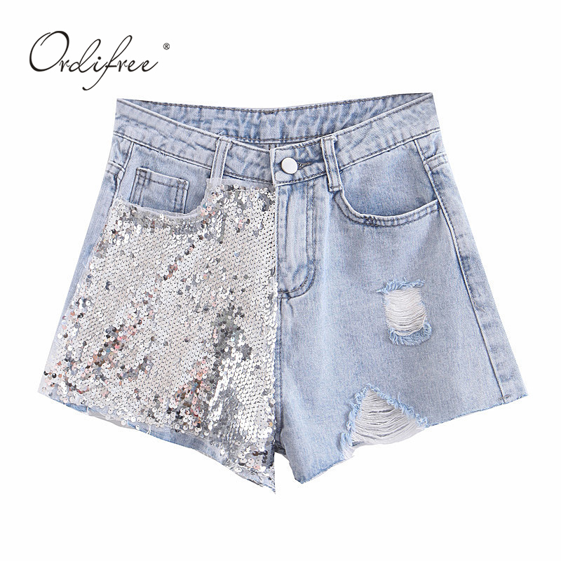 Ordifree 2019 Summer Fashion Women Jeans Shorts Streetwear Blue Cotton Sexy Sequin Ripped Denim Shorts