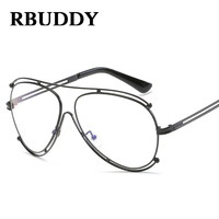 RBUDDY Clear Glasses Frame Alloy Double Circle Computer Glasses Fake Clear Lens Transparent Oversized Eyeglasses For