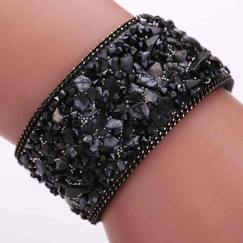 2018 Exquisite Handmade Gravel Stone Bracelet For Women Crystal Wristband Leather Jewelry Gift Round Rope Chain Bracelet 22cm
