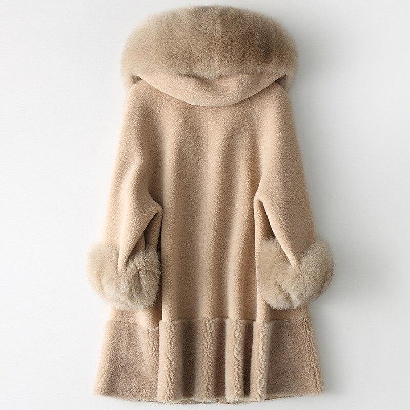 AYUNSUE 2019 الفراء الحقيقي معطف المرأة الثعلب الفراء طوق طويل الشتاء سترة الكورية الملابس الصوف الفراء معاطف وسترات CHQ19 1901 C KJ2514-في فراء حقيقي من ملابس نسائية على  مجموعة 2