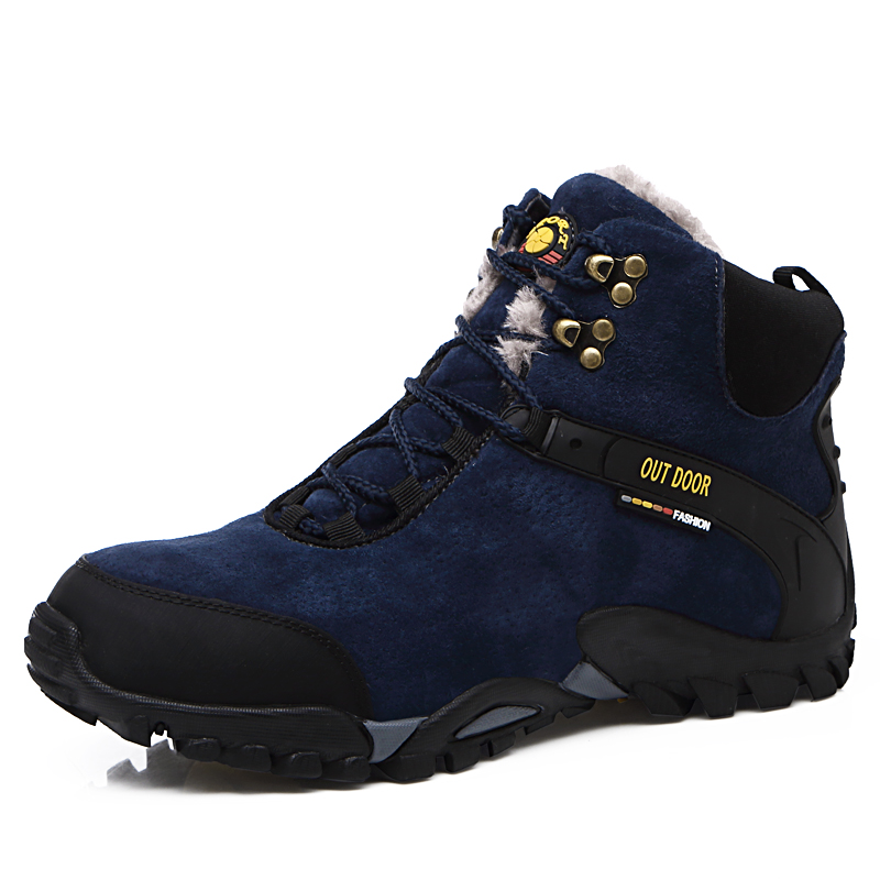2016 Winter Hiking Shoes For Men Leather Outdoor Boots Mountain Climbing Shoes Black High Top Sport Sneakers Winter Keep Warm big size 46 men s winter sneakers plush ankle boots outdoor high top cotton boots hiking shoes men non slip work mountain shoes