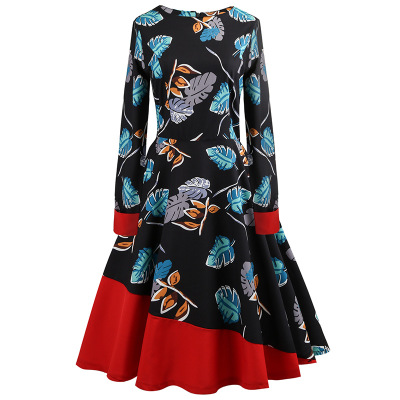 2018 Long Sleeve Spring Autumn Winter Dress Floral Lemon Print Patchwork Black Blue White Swing Retro 50s Vintage Dresses