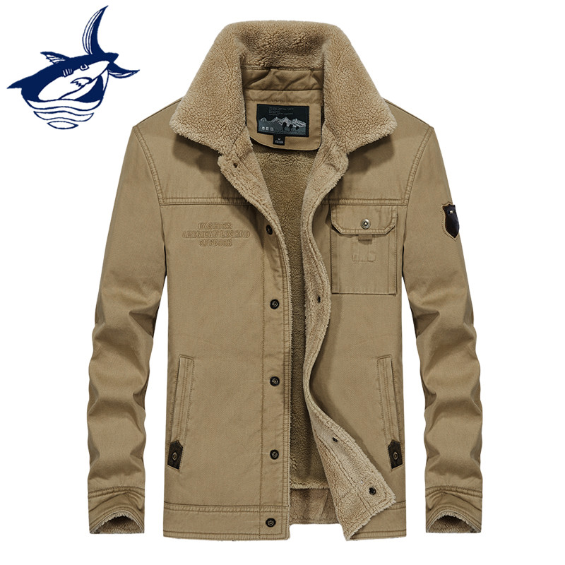 New Thicken Bomber Jacket Men Military Parka Coat Turn-down Collar Winter  Autumn Outdoors Army Fleece Jacket Men Clothes 2018 595a537af7c