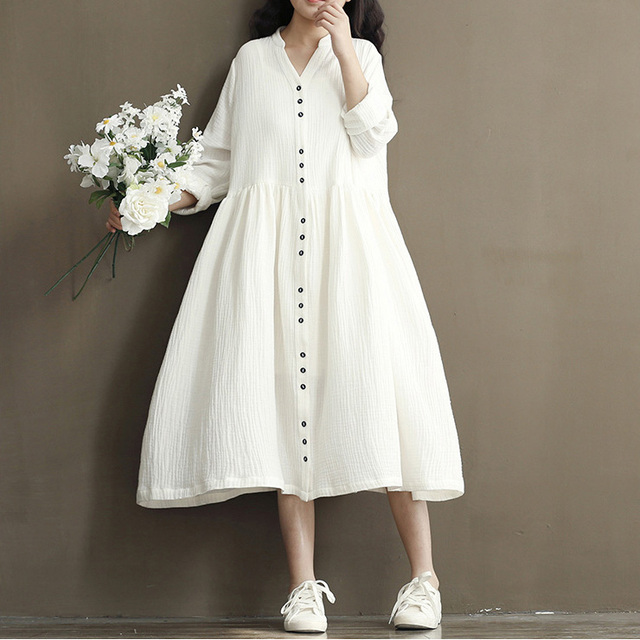 Lange katoenen jurk