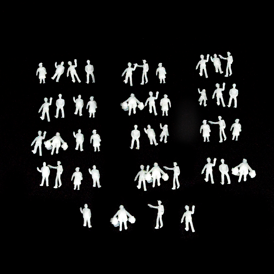 200pcs/lot 1:200 Architectural Scale Model White Figures Construction Miniature Unpainted Tiny People For Diorama Scene Making