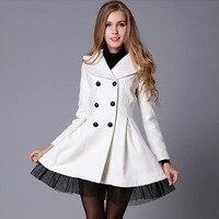 2016 New European Winter Women S Woolen Coat White Twill Silk Skirt Pendulum Double Breasted Coat