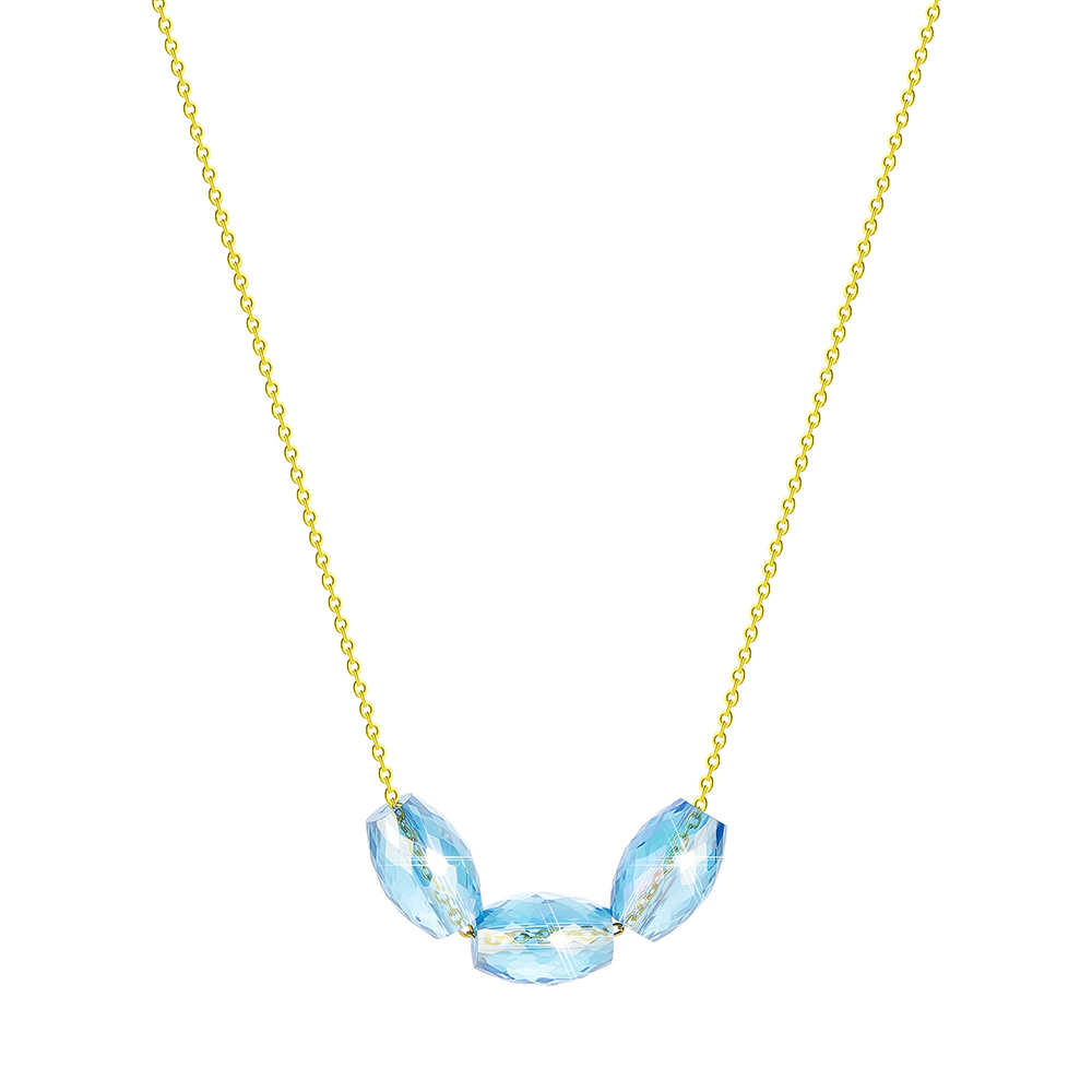 Chandler Faceted Oval Crystal Bead Necklace Blue Crystals Jewellery For Women Quartz Ball Fashion Spring Colier Collars 2019 New