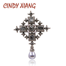 CINDY XIANG New Crystal Cross Brooches Unisex Women and Men Fashion Vintage Large Pins Black Color Cool Design Baroque Style