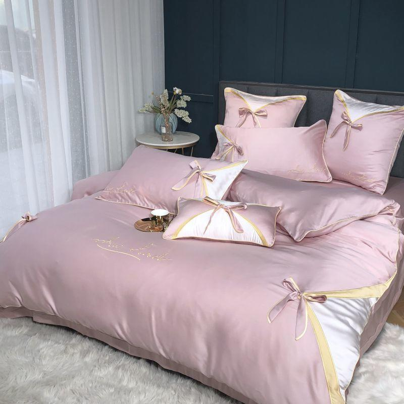 Hot Sale new 80s Tencel Silk Luxury bedding sets Duvet Cover flat Sheet Queen King Jacquard embroidered Bed Linens rosette Bow