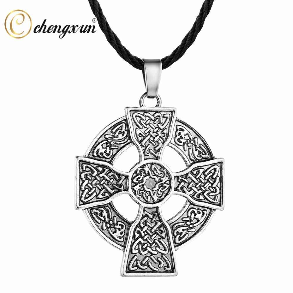 CHENGXUN Viking Nordic Amulet duży okrągły krzyż wisiorek łańcuch Retro Punk mężczyźni chłopcy biżuteria słowiańska