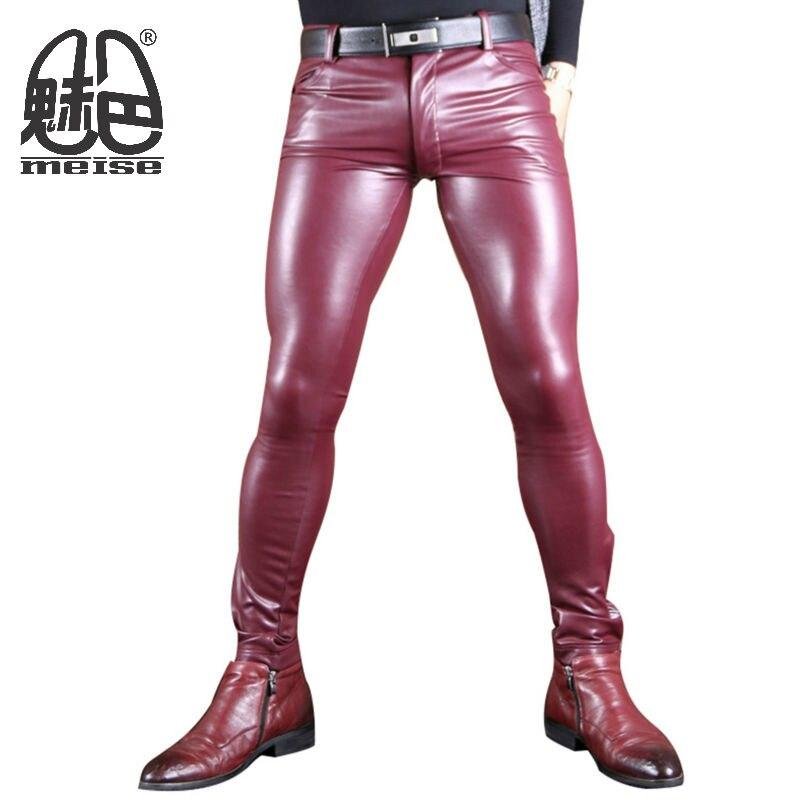 2017 עור האופנה החדש פו מכנסיים לגברים גברים תפקיד שעון X לטקס אלסטי גבוה רך פו סקיני מכנסיים הומו