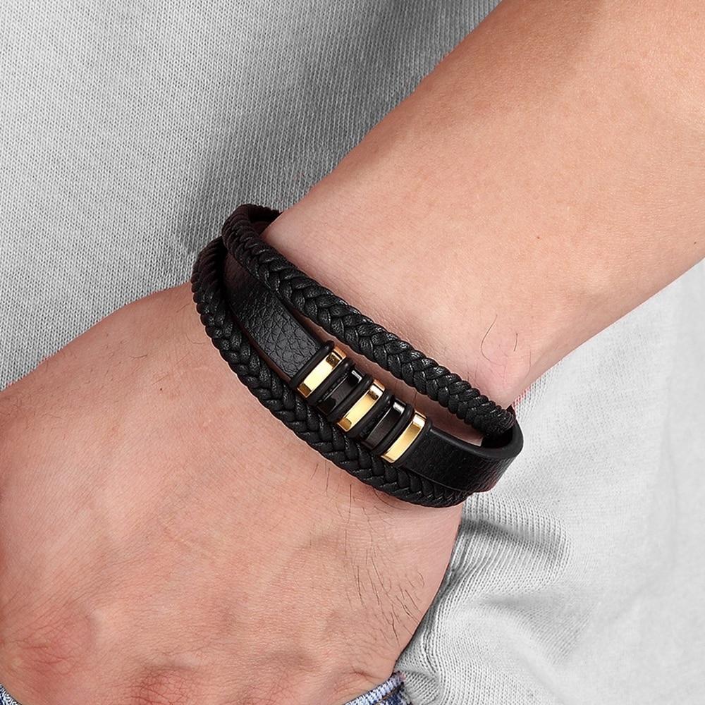 Moda acciaio inossidabile fascino magnetico nero uomini braccialetto in pelle genuino intrecciato Punk Rock braccialetti accessori gioielli amico 2